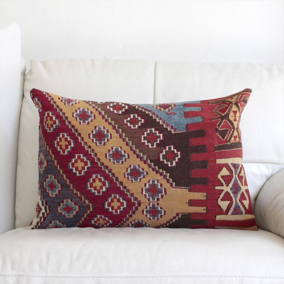 オールドキリムクッションカバー・長方形・枕型・ビッグピロー Old Turkish Kilim Cushion トルコのウール手織りキリム60×40cmマラテヤ/小さなクロス