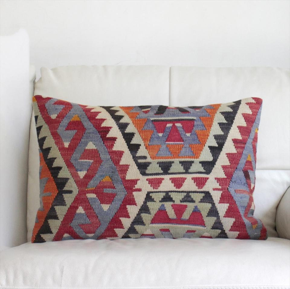 オールドキリムクッションカバー・長方形・枕型・ビッグピロー Old Turkish Kilim Cushion トルコのウール手織りキリム60×40cmエシュメ