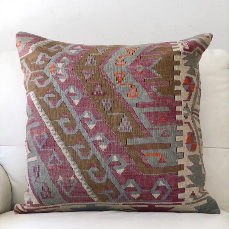 オールドキリムクッションカバー 60cm角 ビッグピロー Old Turkish Kilim Cushion カイセリ・チフカナット