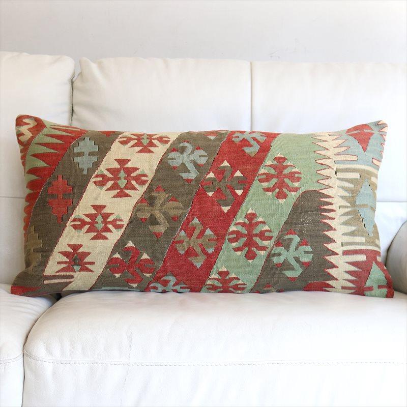 オールドキリムクッションカバー Turkish Old Kilim Cushion 75×40cmシワス・チフカナットキリム/ひし形メダリオン・狼の足跡