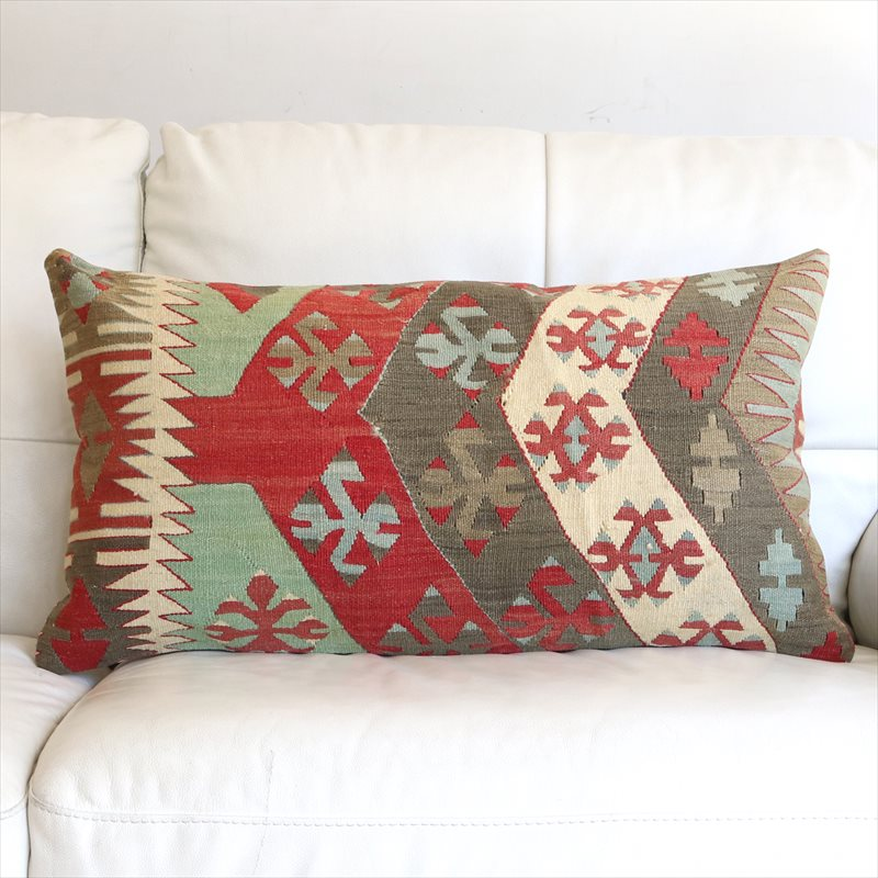 オールドキリムクッションカバー Turkish Old Kilim Cushion 72×40cmシワス・チフカナットキリム/ひし形メダリオン・狼の足跡