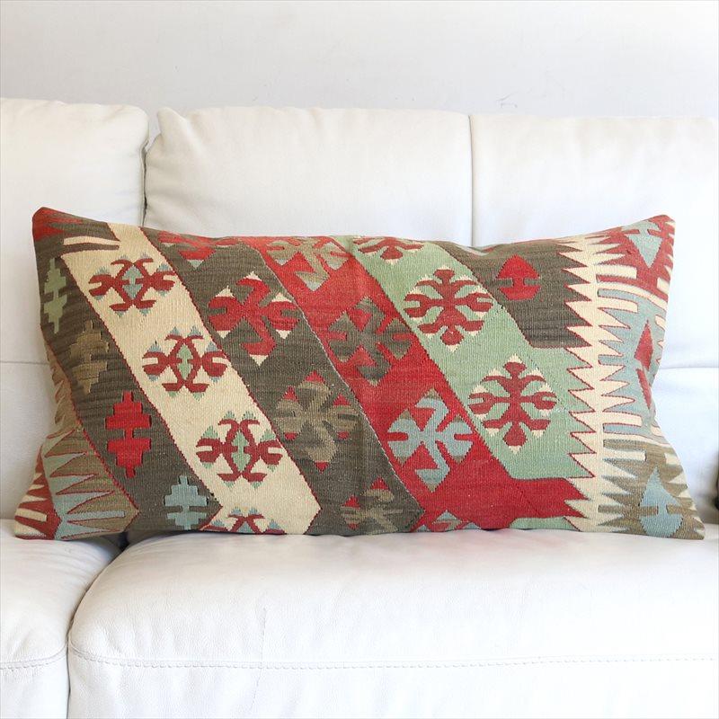 オールドキリムクッションカバー Turkish Old Kilim Cushion 74×40cmシワス・チフカナットキリム/ひし形メダリオン・狼の足跡