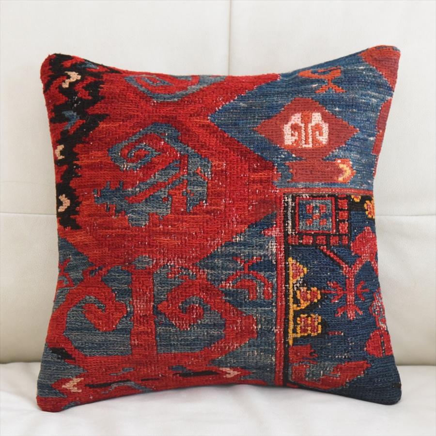 キリムクッションカバー40cm角・手織りキリム/ヴィンテージ・オールドKilim Cushion ブルーとレッドのスマックキリム