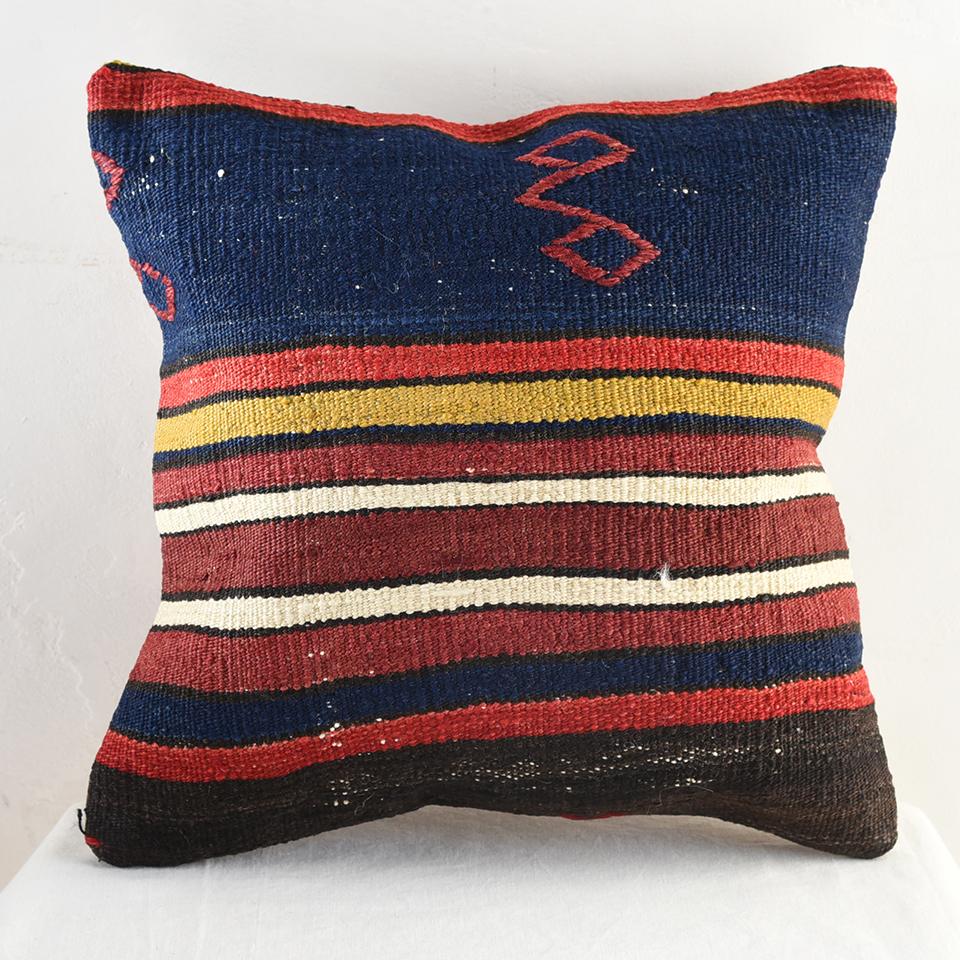 キリム クッション カバー 40cm角・ トルコ 手織り / ビンテージ ウール100%コンヤ・シンプルなストライプ