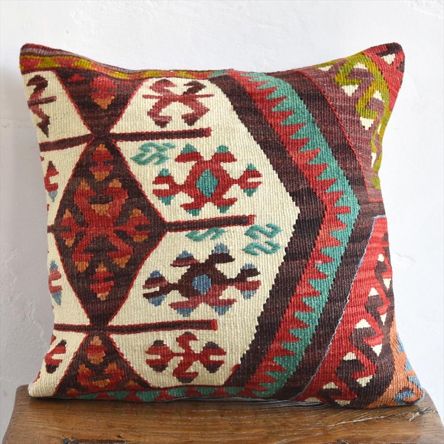 オールドキリムクッションカバー40cm Turkish Kilim Cushion トルコのウール手織りキリムサンドゥク・チフカナットキリムからのカット