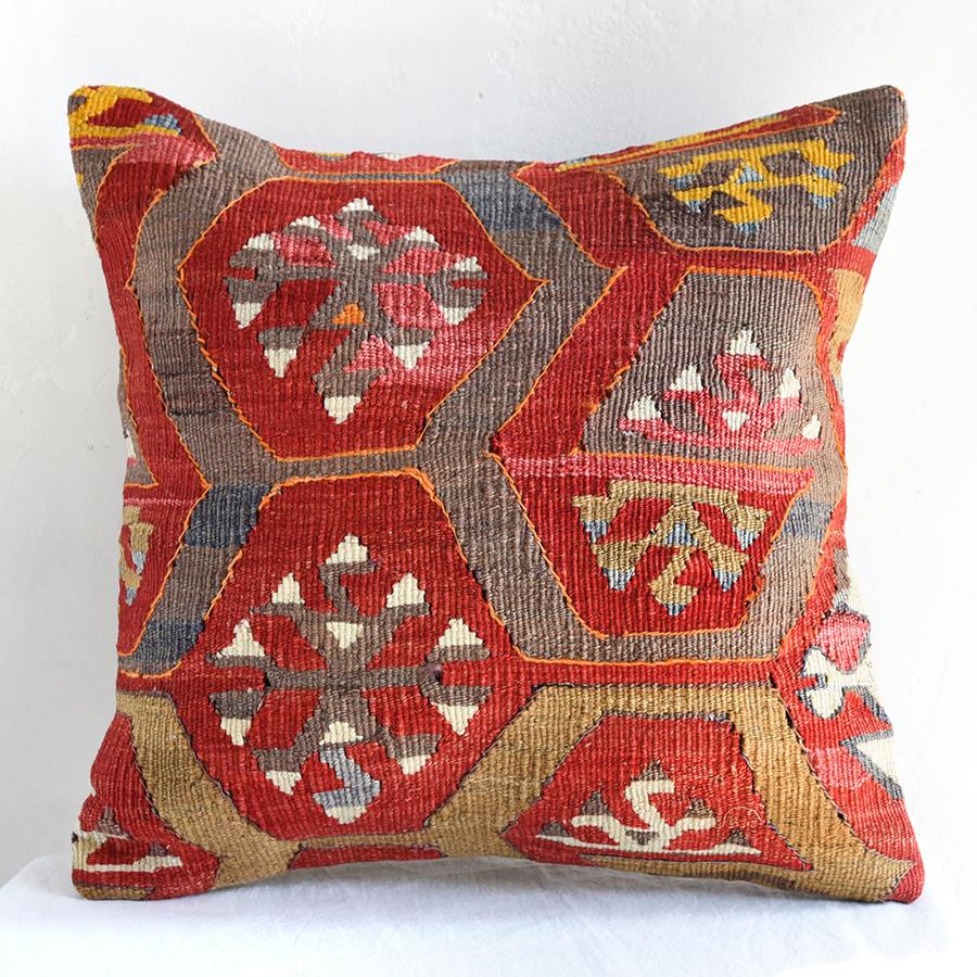 オールドキリムクッションカバー40cm・Turkish Kilim Cushion・トルコのウール手織りキリムアダナ・オオカミの足跡のモチーフ