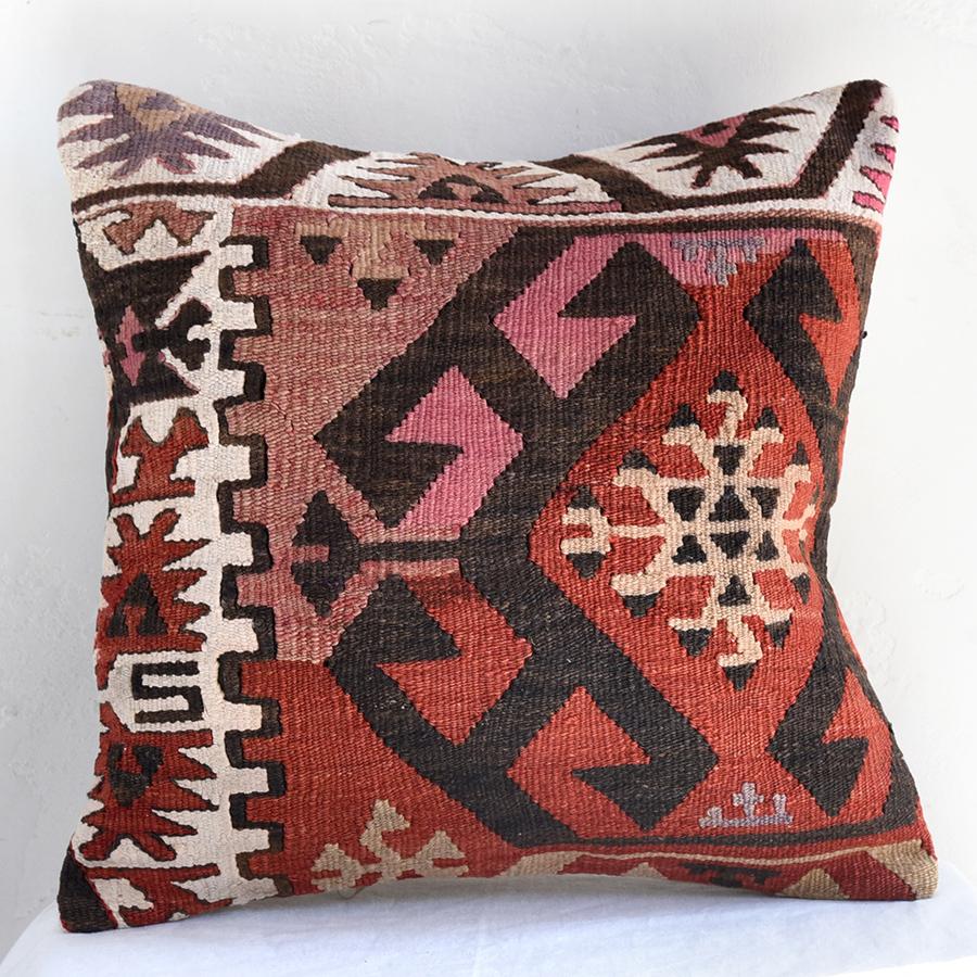 オールドキリムクッションカバー40cm・Turkish Kilim Cushion・トルコのウール手織りキリムマラシュ・ベレケット