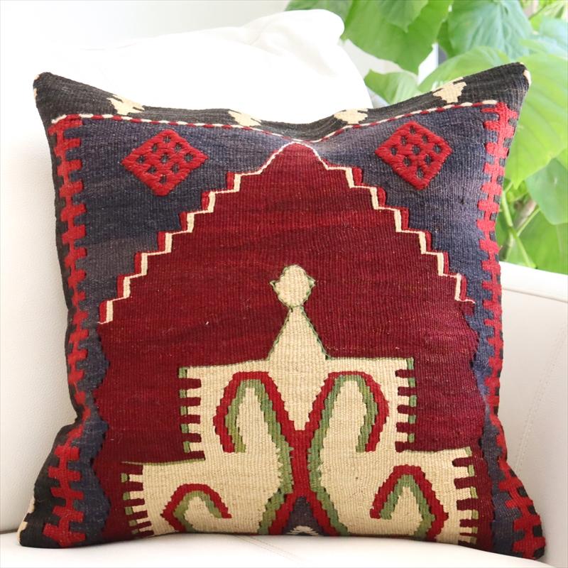 クッション カバー キリム ウール100% 40cm 角 ・ トルコ 手織り キリム / ヴィンテージ ・ オールド Kilim Cushion赤いダイヤのジジム・ひし形メダリオン