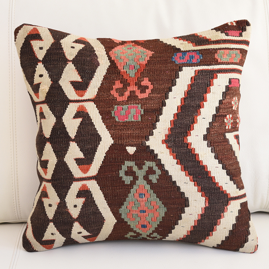 アンティークキリムクッションカバー 40cm・Old Turkish Kilim Cushion アイドゥンチネ/ローズピンク&ブルー