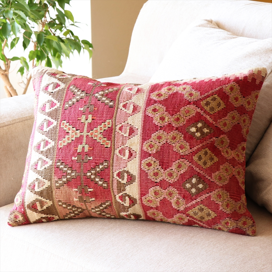 オールドキリムクッション 長方形 Turkish Old カイセリ Kilim Cushion 50×35cm お洒落 捧呈