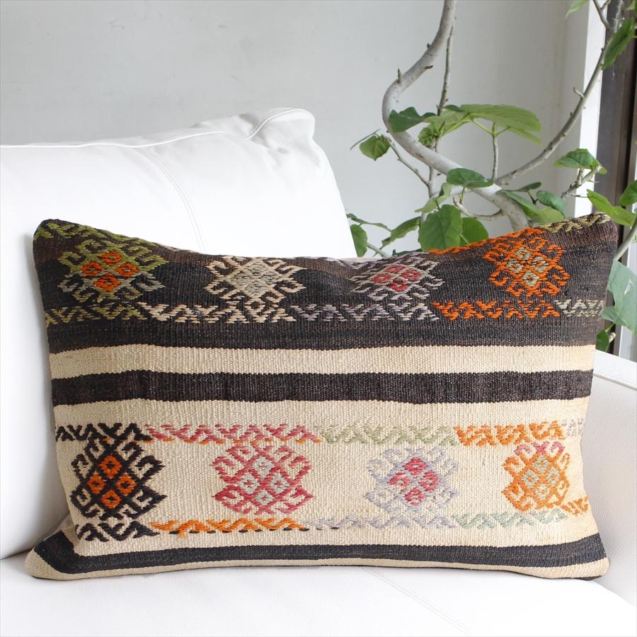 オールドキリムクッション 長方形ビッグピロー Turkish Old 新品 送料無料 誕生日 お祝い コンヤ Kilim Cushion60x39cm Konya