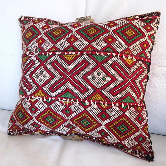 オールドキリム・モロッコ Beni M'guild ベニムギル40×35cm細かく複雑なジジム織り/中綿付き