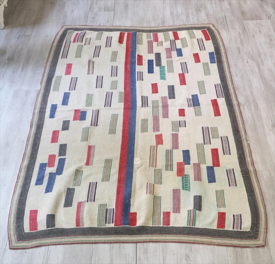 インド カンタ刺繍・パッチワーク/ラリーキルト 古布・ヴィンテージファブリック 196×143cm Kantha embroidery, India