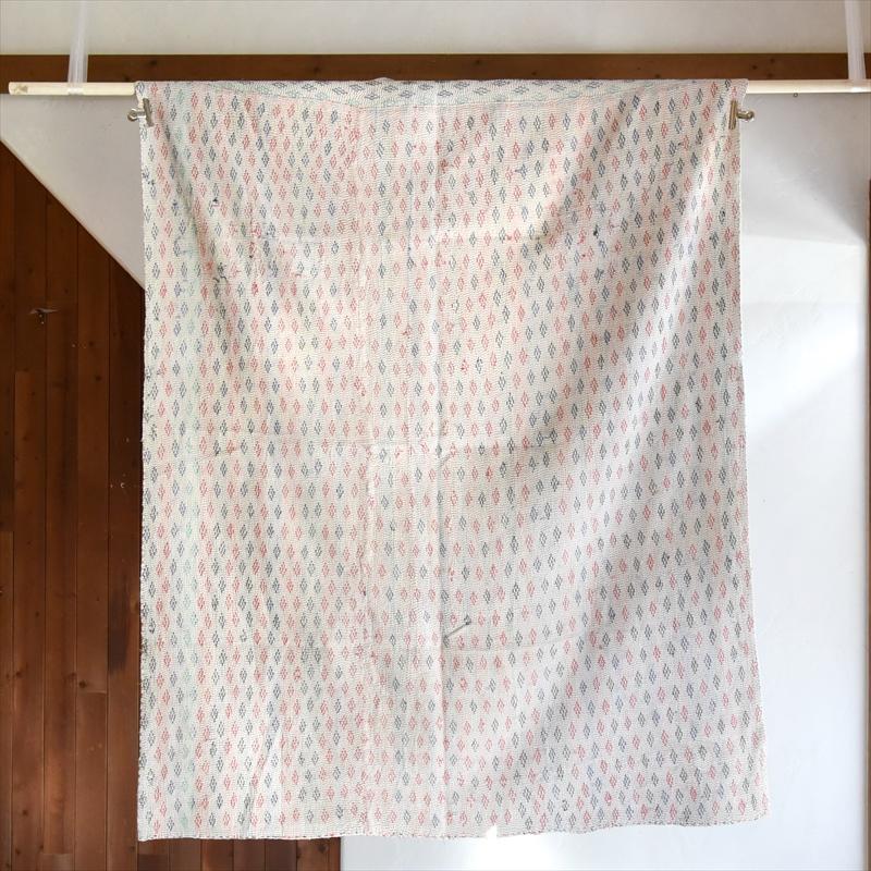 インド カンタ刺繍・パッチワーク/ラリーキルト 古布・ヴィンテージファブリック 174×140cm Kantha embroidery, India