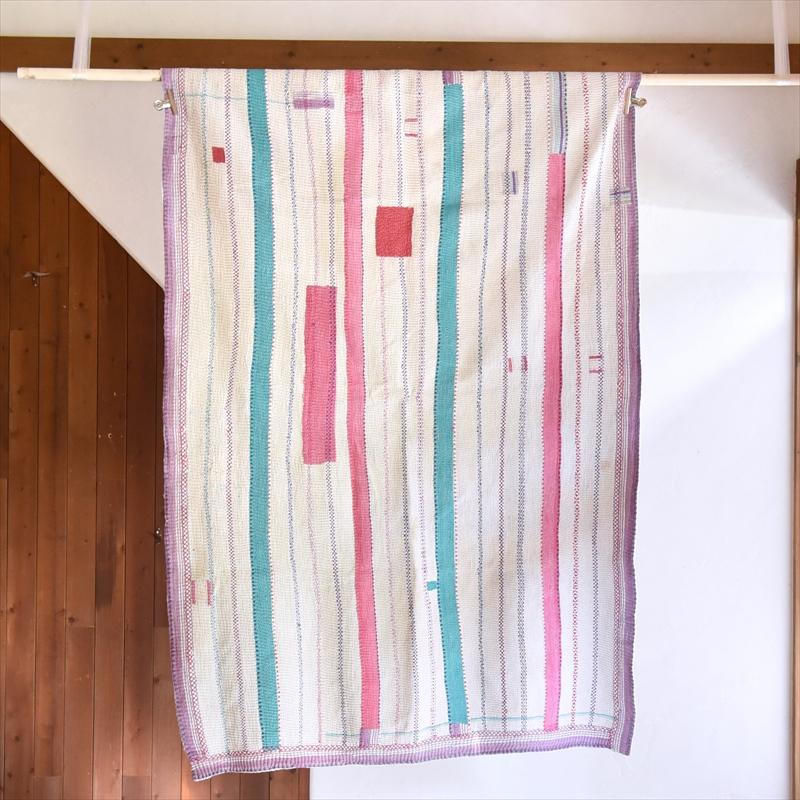 インド カンタ刺繍・パッチワーク/ラリーキルト 古布・ヴィンテージファブリック 185×120cm Kantha embroidery, India