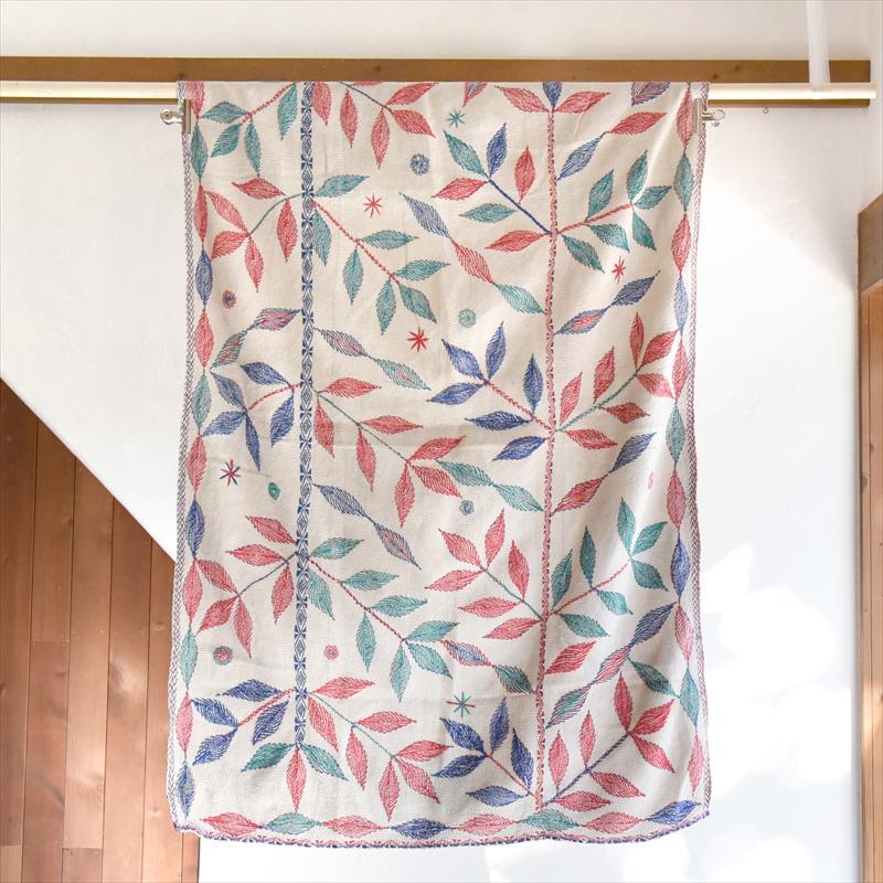 インド カンタ刺繍・パッチワーク/ラリーキルト 古布・ヴィンテージファブリック 144×100cm Kantha embroidery, India