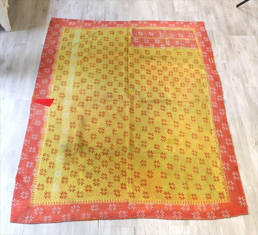 インド カンタ刺繍・パッチワーク/ラリーキルト 古布・ヴィンテージファブリック 208×152cm Kantha embroidery, India