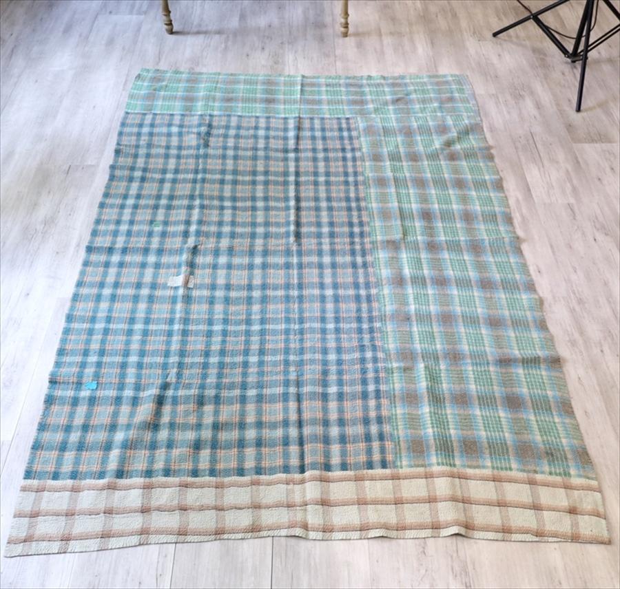 インド カンタ刺繍・パッチワーク/ラリーキルト 古布・ヴィンテージファブリック 215×145cm Kantha embroidery, India