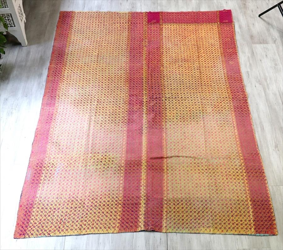 インド カンタ刺繍・パッチワーク/ラリーキルト 古布・ヴィンテージファブリック 248×180cm Kantha embroidery, India