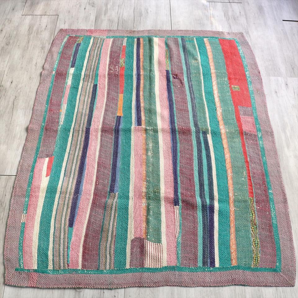インド カンタ刺繍・パッチワーク/ラリーキルト 古布・ヴィンテージファブリックパステルストライプ Kantha embroidery, India