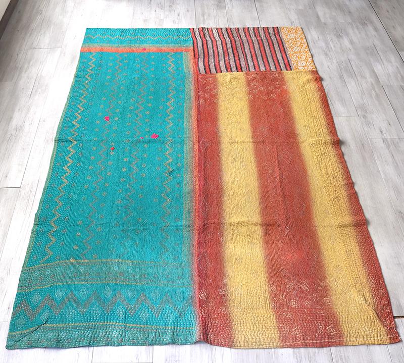 インド カンタ刺繍・パッチワーク/ラリーキルト 古布・ヴィンテージファブリック222×151cmエメラルドグリーン&イエロー Kantha embroidery, India