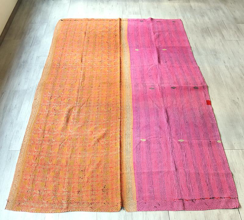 インド カンタ刺繍・パッチワーク/ラリーキルト 古布・ヴィンテージファブリック 248×155cmオレンジ&ピンク Kantha embroidery, India