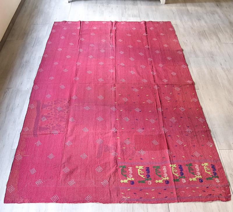 インド カンタ刺繍・パッチワーク/ラリーキルト 古布・ヴィンテージファブリック 242×153cmレッド Kantha embroidery, India