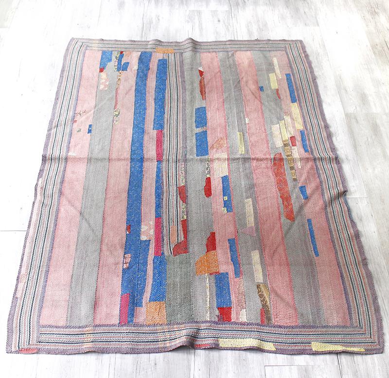 インド カンタ刺繍・パッチワーク/ラリーキルト 古布・ヴィンテージファブリック 174x128cmピンク&ブルー Kantha embroidery, India