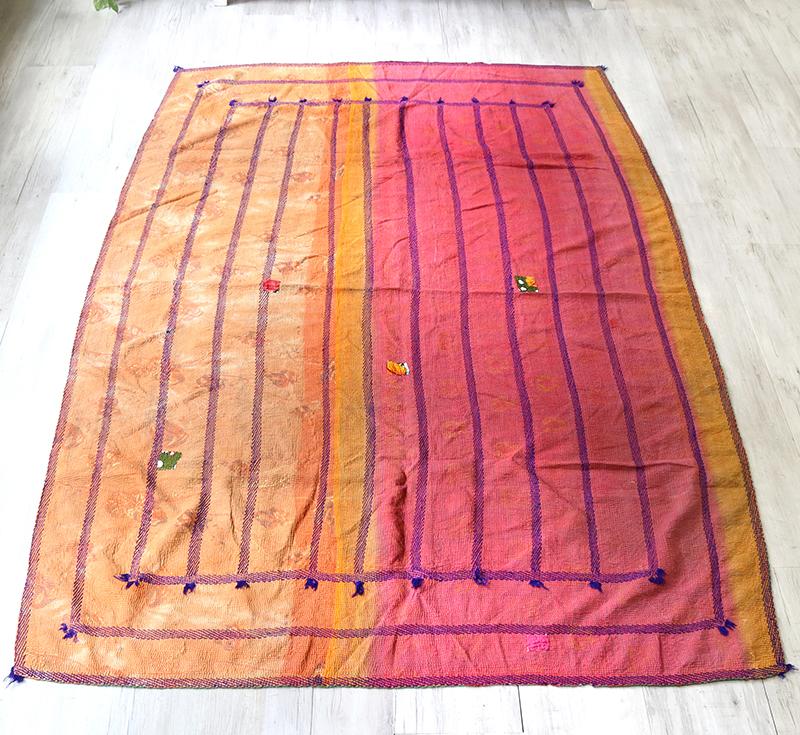 インド カンタ刺繍・パッチワーク/ラリーキルト 古布・ヴィンテージファブリック 220x145cmオレンジ&ピンク Kantha embroidery, India