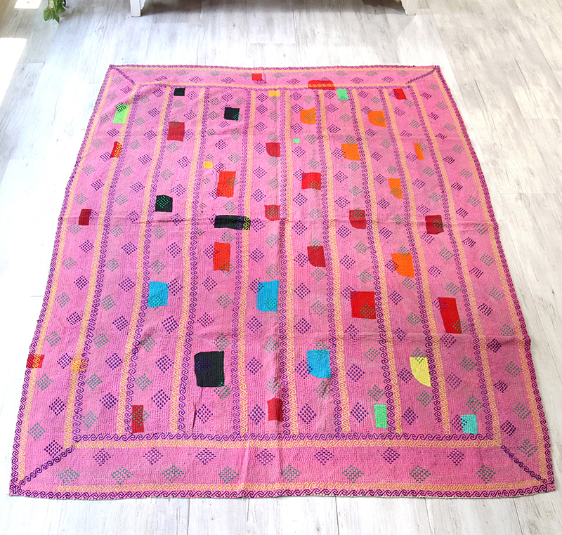 インド カンタ刺繍・パッチワーク/ラリーキルト 古布・ヴィンテージファブリック 205x145cmピンク Kantha embroidery, India
