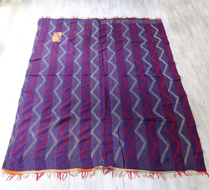 インド カンタ刺繍・パッチワーク/ラリーキルト 古布・ヴィンテージファブリック 193x144cmパープル・波の刺繍 Kantha embroidery, India