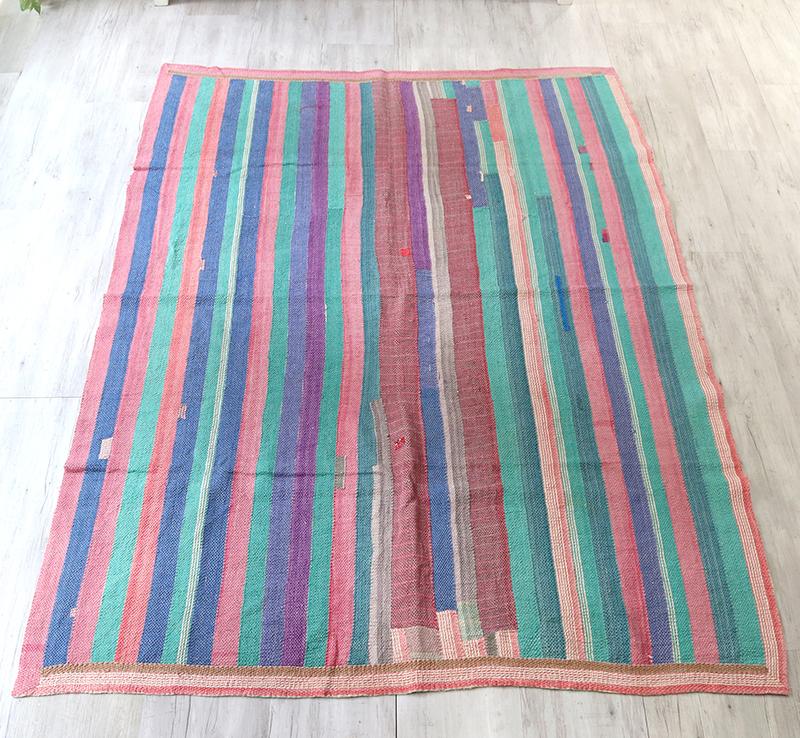 インド カンタ刺繍・パッチワーク/ラリーキルト 古布・ヴィンテージファブリック 215x145cmパステルカラーのストライプ Kantha embroidery, India