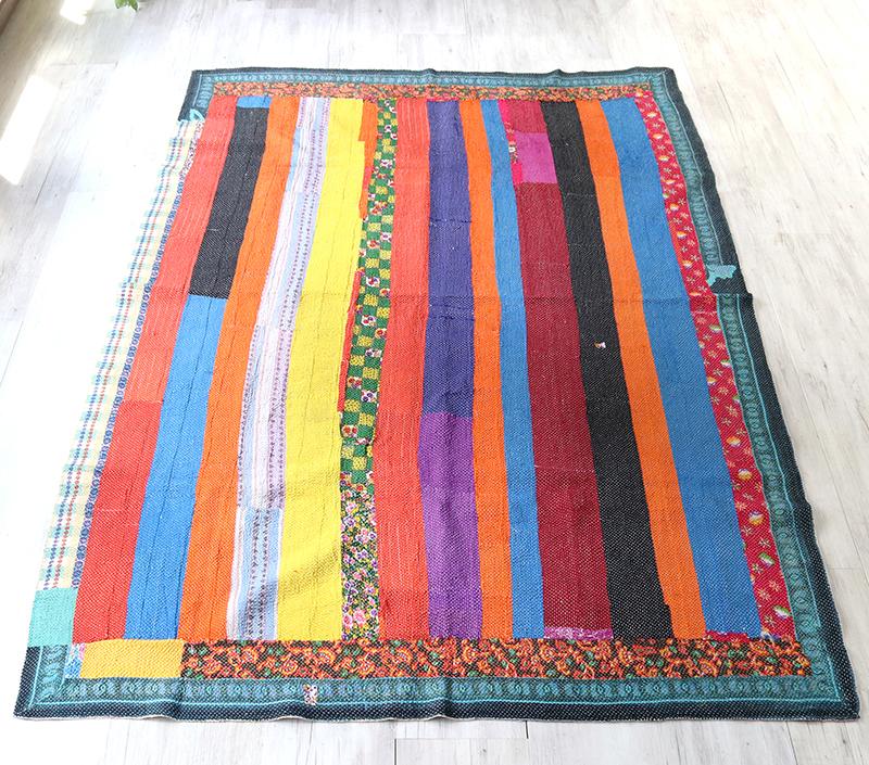 インド カンタ刺繍・パッチワーク/ラリーキルト 古布・ヴィンテージファブリック 216x155cmストライプ Kantha embroidery, India