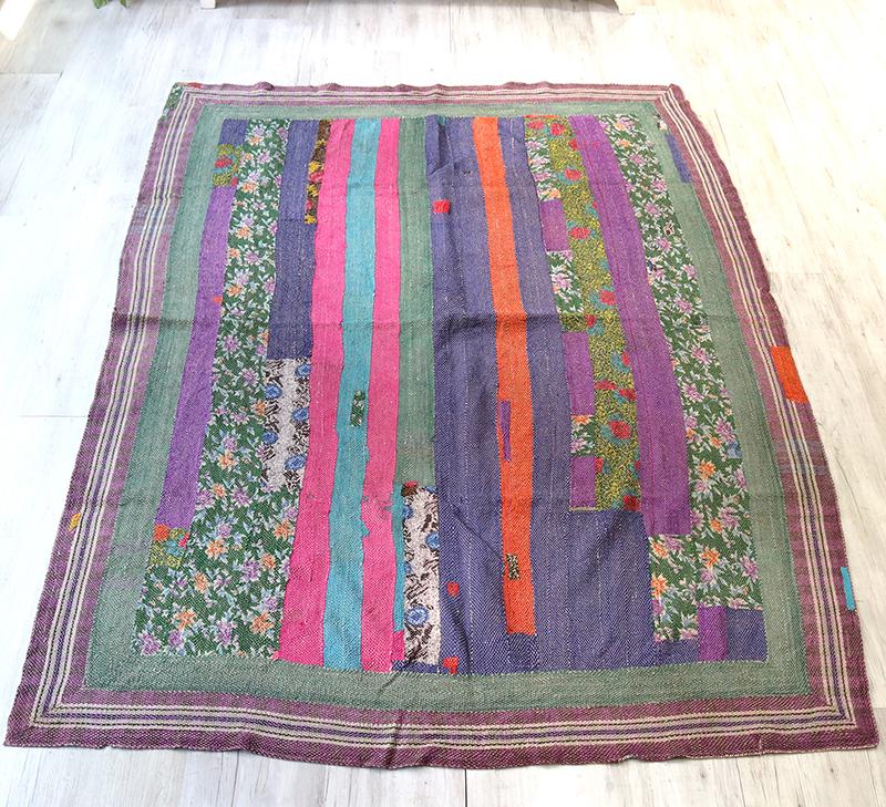 インド カンタ刺繍・パッチワーク/ラリーキルト 古布・ヴィンテージファブリック 210x156cmフラワー・カラフルなタイル Kantha embroidery, India