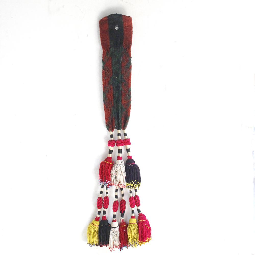 ウズベキスタン・馬飾りのタッセル Uzbekistan Tassel67cmレッド・ホワイト・パープル/フリンジ糸1本1本にビーズ