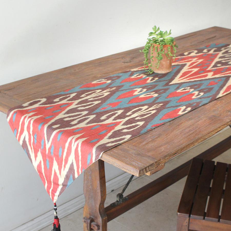 テーブルランナー・ウズベキスタン・アトラス(イカット・絣)シルク 156x40cm