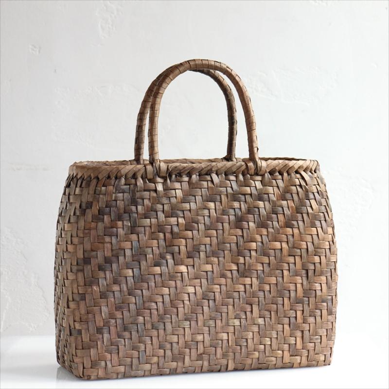 くるみ・カゴバッグ/網代編み・大サイズ幅37cmx本体の高さ27cmxマチ13cm・重さ550g