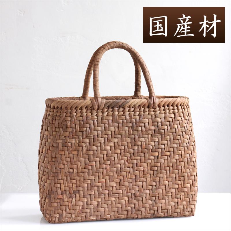 【国産材】やまぶどう・カゴバッグ/網代編み・中サイズ幅32cmx本体の高さ24cmxマチ12cm・重さ490g