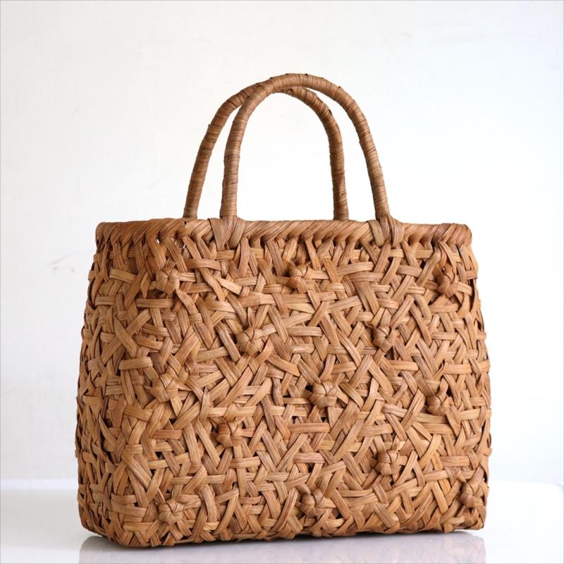 やまぶどう・カゴバッグ/花模様乱れ編み・削り仕上げ・中サイズ幅32cmx本体の高さ25cmxマチ12cm・重さ590g
