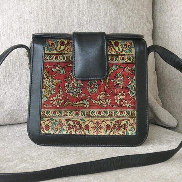 細密・ヘレケシルクカーペットと革のバッグスクエアショルダーバッグ