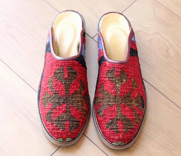 Kilim and leather slipper 37 (24.0 cm) fs3gm
