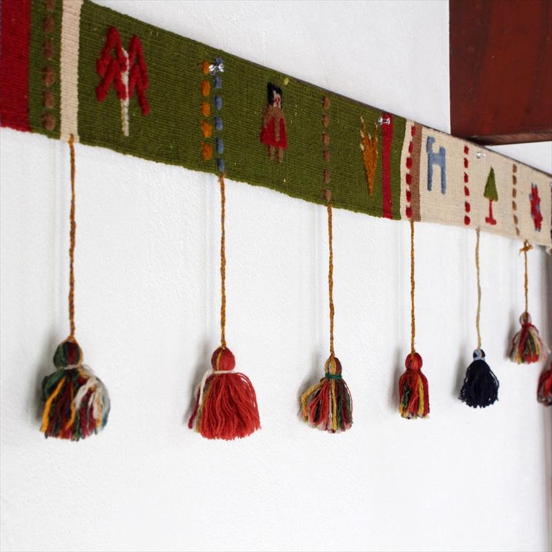遊牧民のテント飾り・カラフルボーダーカシュカイ族のギャッベキリム・ポンポン445x35cm