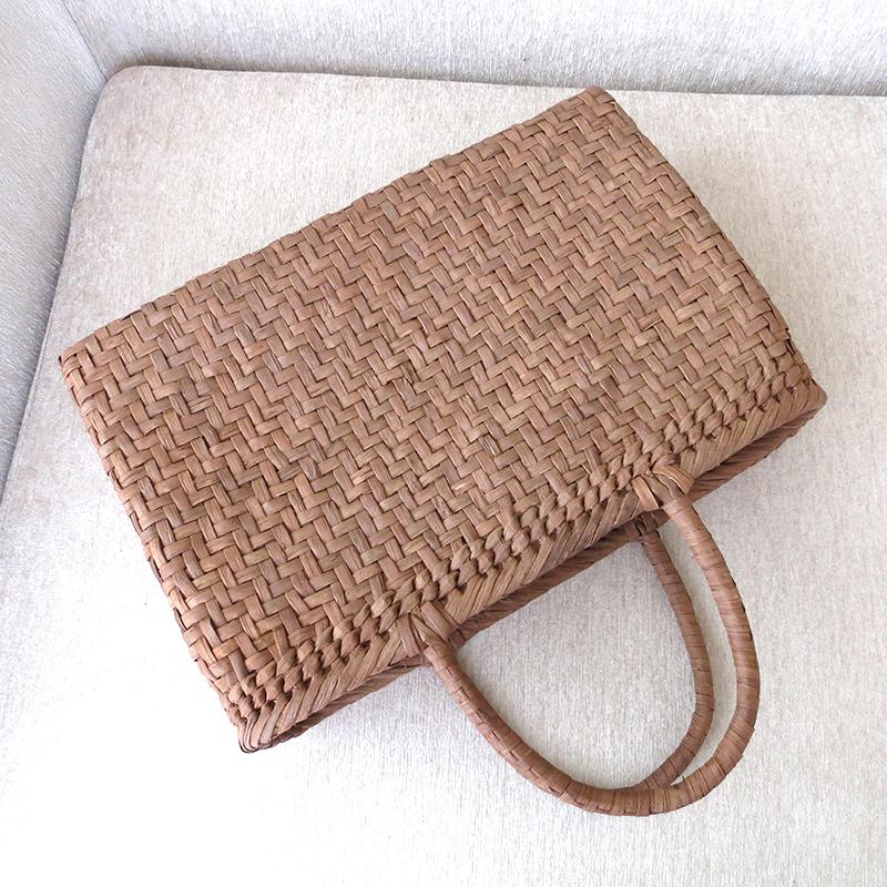 Yamabudo / 6 / basketry splints wickerwork weaving / persimmon juice dyeing  in fabric, Pocket width 33 cmx body height 22 cmx Mati 10 cm, weight 400 g