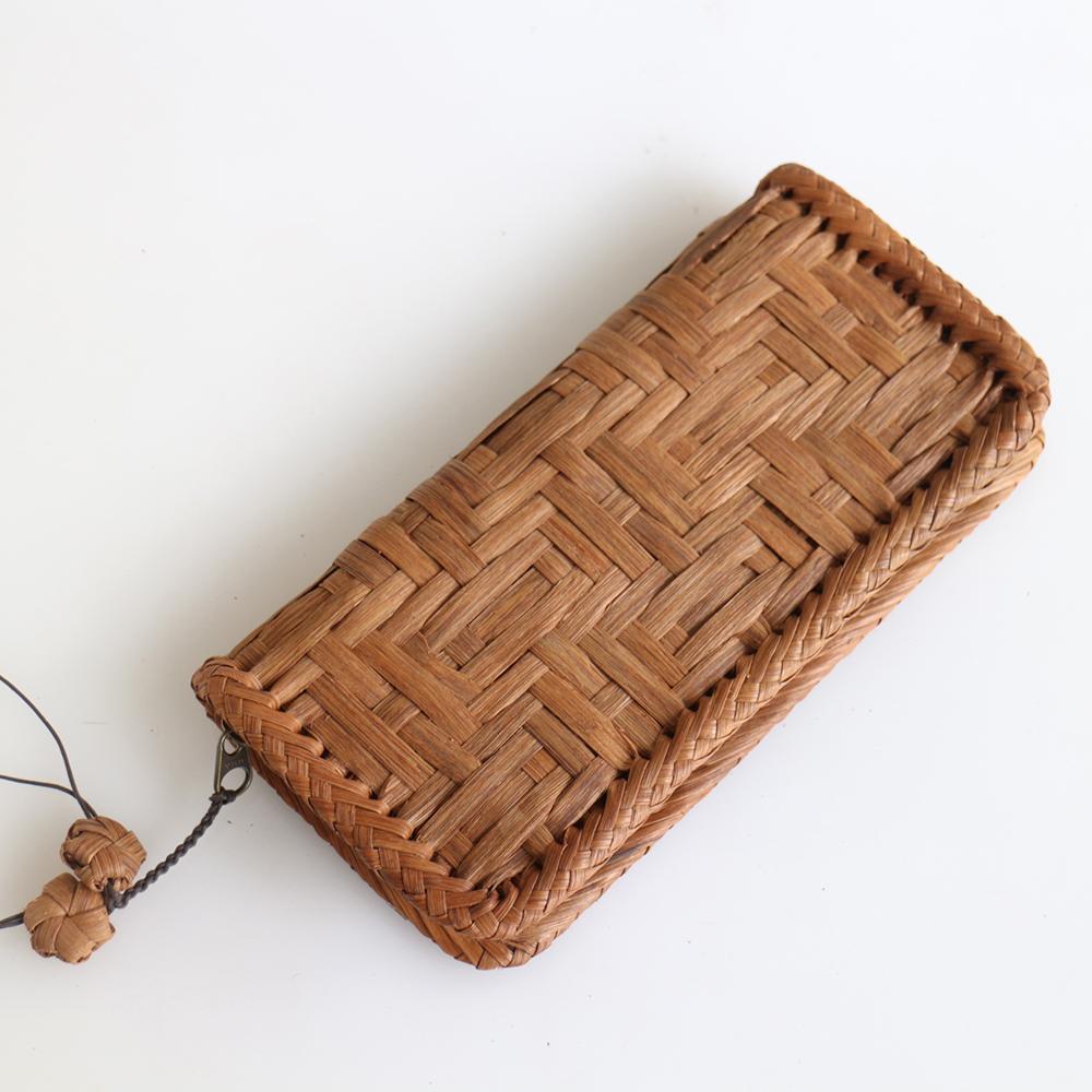 やまぶどう・長財布/連続桝網代編み・削り仕上げ・本革縦21cmx横10.5cmxマチ3cm・重さ250g