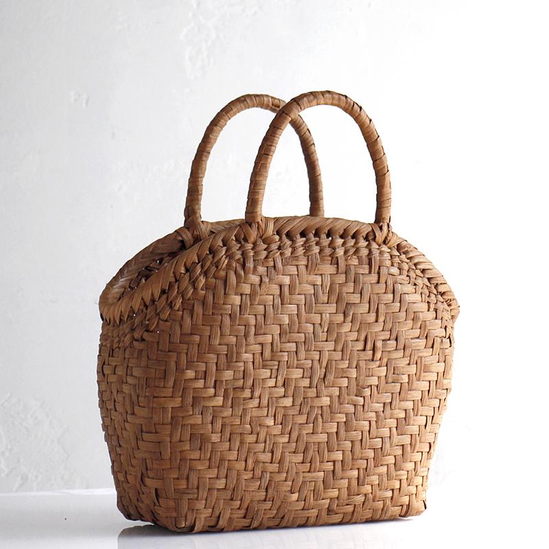 やまぶどう・カゴバッグ/半月・桝網代編み・削り仕上げ幅23cmx本体の高さ25cmxマチ11cm・重さ380g