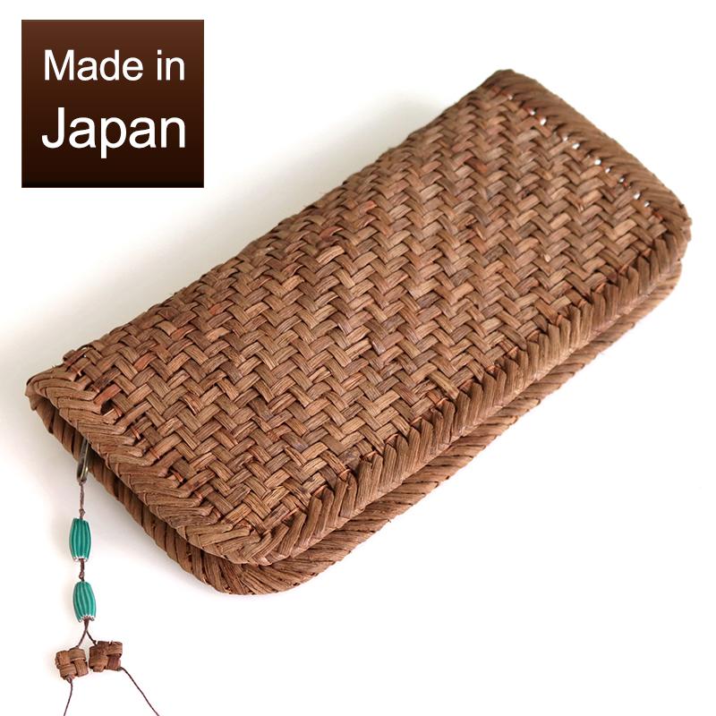 国産材 国産 やまぶどう 長財布 網代編み 重さ200g 花根付 3mmひご 半額 よこ22cmxたて11cmxマチ2cm 送料無料/新品 アフリカンビーズ