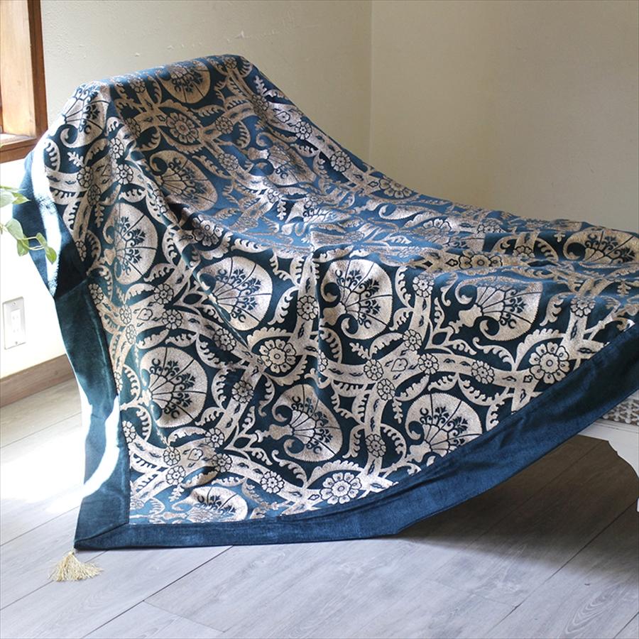ソファカバー・マルチカバー160cmスクエア/カランフィル・エメラルドトルコ製シュニール素材インテリアファブリック