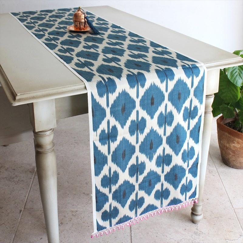 テーブルランナー・ウズベキスタン・アトラス(イカット・絣)シルク製200×35cmブルー・トルコ伝統カギ針編みトゥ・オヤ