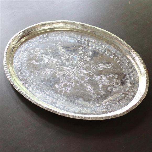 トルコ製・バクル(銅製品)のお盆・楕円形38×28cmTurkish Bakir, Oval tray