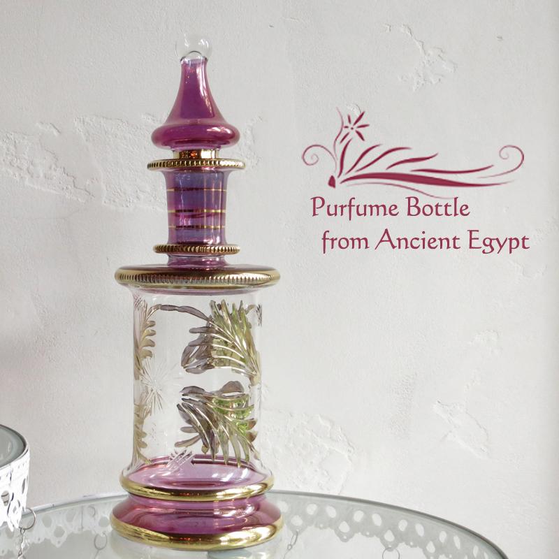 エジプト手吹きガラス・デカンタ・ピンク(装飾用・置物)【エジプトお土産/アロマポット】